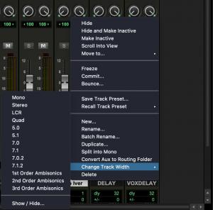 Pro Tools 2021.6 Track Width
